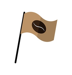 Coffee bean on fly flag vector image vector image