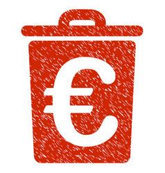 Euro trash icon grunge watermark vector