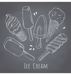 Set of hand drawn different ice cream Food design vector image