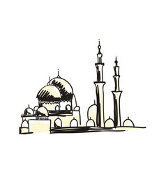 ancient mosque hand drawn icon vector image vector image