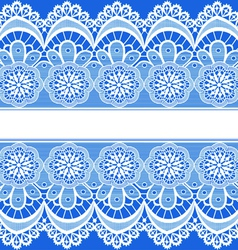 blue background with stripes of lace vector image vector image