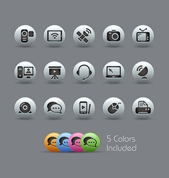 Communication icons pearly series vector