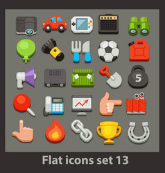 flat icon-set 13 vector image vector image