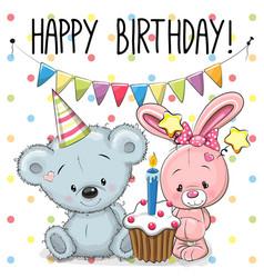 greeting card rabbit and bear vector image