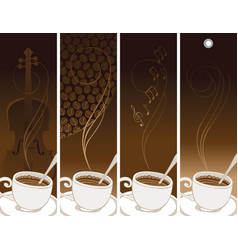 set of banners on the theme of coffee and music vector image vector image