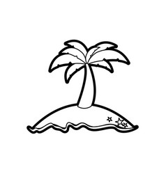 black thick contour of island with palm tree vector image vector image