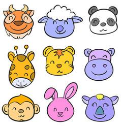 cartoon animal head doodle style vector image