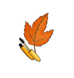 fashion pop art style autumn cosmeics sticker vector image vector image