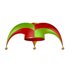 jester hat in red and green design vector image vector image