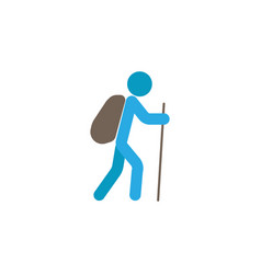 tourist backpacker flat icon travel tourism vector image vector image