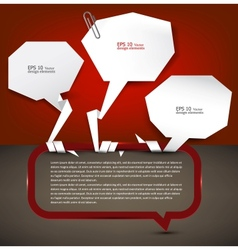 White paper bubbles with clip for speech vector
