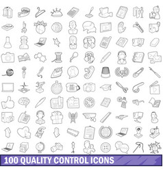 100 quality control icons set outline style vector