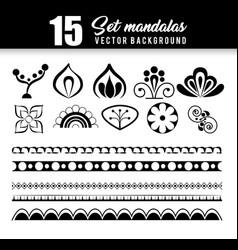 15 mandalas monochrome boho style set vector image