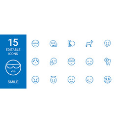 15 smile icons vector
