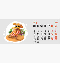 2018 year of yellow dog on chinese calendar fun vector