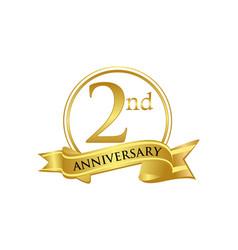 2nd anniversary celebration logo vector image