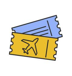 Airplane tickets color icon vector
