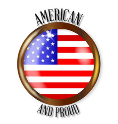 American proud flag button vector