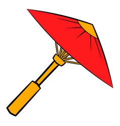 Asian red parasol or umbrella icon cartoon vector