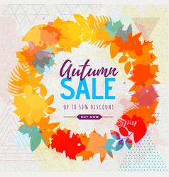 Autumn big sale watercolor poster with autumn leaf vector