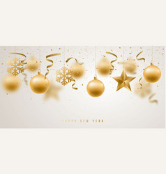 Banner with golden christmas decorative baubles vector