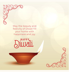 Beautiful diwali wishes greeting with diya vector