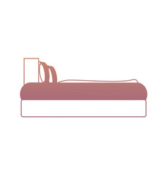 Bed with pillows icon vector