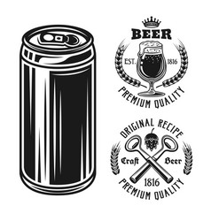 beer can and two emblems badges labels or logos vector image