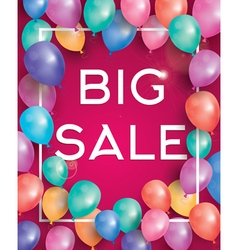 Big sale poster on red background with balloons vector