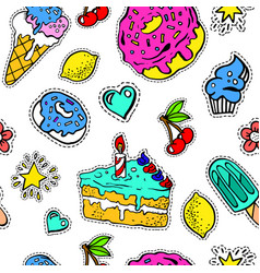 birthday cake donut and ice cream sweets seamless vector image