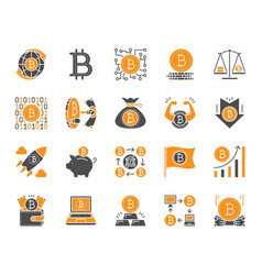 bitcoin simple color flat icons set vector image
