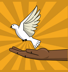 Black hand and flying pigeon peace free concept vector