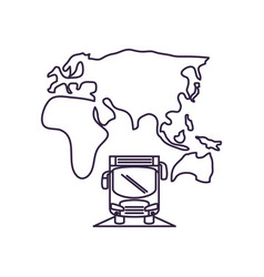 Bus transport vehicle with continents vector