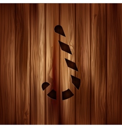 Candy cane web icon wooden background vector