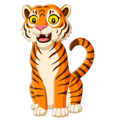 cartoon smiling tiger isolated on white background vector image