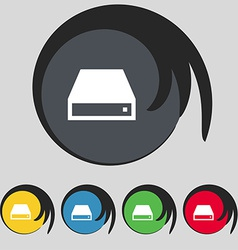 CD-ROM icon sign Symbol on five colored buttons vector image