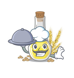 Chef with food wheat germ oil in a cartoon vector