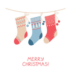christmas greeting card with socks in flat style vector image