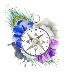Compass with flowers vector image