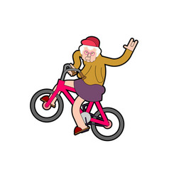 cool grandmother on bicycle grandma on bmx old vector image