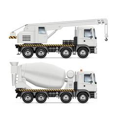 Crane and mixer trucks vector