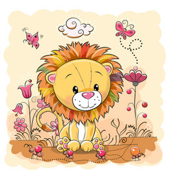 Cute cartoon lion on a meadow vector