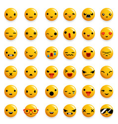 Cute emoticon smile emoji icons set isolated 3d vector