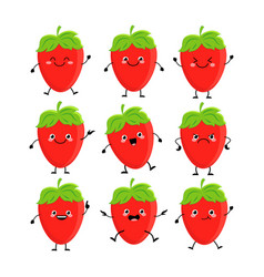 cute strawberry characters set with differen vector image