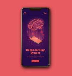 Deep learning system landing web page template on vector