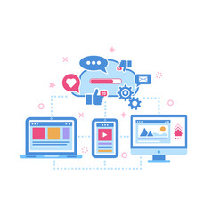 device synchronization cloud storage data concept vector image
