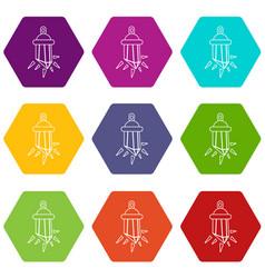 diamond amulet icons set 9 vector image