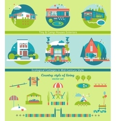Ecological Cottages and Camp Houses Set vector image