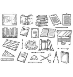 Education and knowledge books and stationery vector