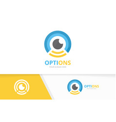 Eye and wifi logo combination optic vector
